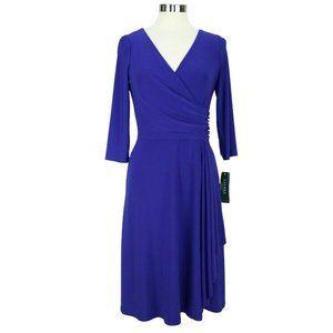 Ralph Lauren Faux-Wrap Draped-Side Jersey Dress